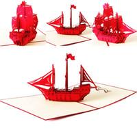 origami para aniversário venda por atacado-2019 Cartões de Papelão Do Vintage Artesanal De Papel Origami Corte A Laser Kraft Presentes De Aniversário Para O Namorado