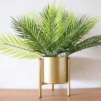 künstliche bonsai-bäume großhandel-Künstliche Palme Green Leaf Pflanzen Kunststoff Topf Bonsai Blätter Garden Home Hochzeit Tisch Ornamente Dekoration