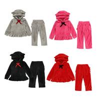 kadife papyon kravat toptan satış-Kız bebekler Hoodie Seti Altın Kadife Eşofman Kız Kıyafetler sweatshirt Seti Bebek Kulak Bow-Tie Kapüşonlular + Cep Dantel Pantolon Giyim M520 Tops