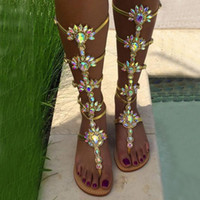 Wholesale knee high shoes buckles resale online - Summer Flats Sandal Gladiator Gold Rhinestone Knee High Buckle Strap Woman Boots Crystal Beach Shoes Plus size Y200323