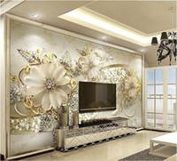 ingrosso modello di sfondo-Formato personalizzato 3D Photo Wallpaper Soggiorno Murales gioielli modello europeo 3D Picture Sofa TV Sfondo Home Decor Creative Hotel Wallpapers