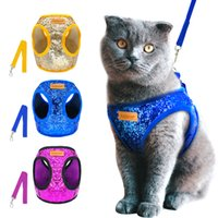 ingrosso imbracature di gattini-Bling Paillettes Cat Dog Harness and Guinzaglio Set regolabile Puppy Kitten Walking Harnesses Vest Traction Belt Per cani di piccola taglia Gatti