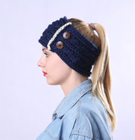 Wholesale thick headbands online - women winter warm thick warm headband crochet button headwear twisted knot warmer head bands turban lace flowers hair bands headwraps
