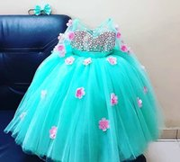 Wholesale blue flower girl pageant dress for sale - Group buy Sky Blue Sheer Neck Flower Girl Dresses Hand Made Flowers Tulle Little Girl Wedding Dresses Vintage Communion Pageant Dresses Gowns F156