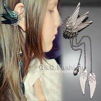 pendientes de ala de hadas al por mayor-Fairy Tail Elf Pixie Wing Angel Wing Long Chain Tassel Ear Puff Ear Clip On Pinzas Pendientes oorbellen Brincos Fancy Dress Jewelry