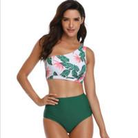 blumen-bh panty set großhandel-Ein Schulter Blumen BH Set mit Panty Sexy 2019 New Women Fashion Bra