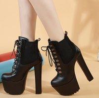 botas de 16cm al por mayor-16cm Nuevos cordón negro hasta Martin botas de invierno de tacón alto tobillo botín añadir un tamaño de felpa 34 a 40