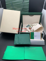 Wholesale original watch cases resale online - Newest Style Green Watch Original Box Papers Card Purse Gift Wood Boxes Handbag For Watches Case
