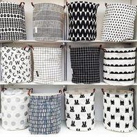 Wholesale canvas toy storage resale online - INS lattice letter printing Storage Bags cartoon Handbags Kids Toys Dirty clothes basket Stuff Sacks cm ZZA1160