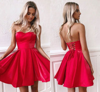 rotes kleid über dem knie groihandel-Red Liebsten Short Homecoming Kleider Chepa Open Back Party Cocktailkleid Über Knielangen Prom Abend Cocktail Wear BM0940