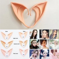 elf orelha cosplay venda por atacado-Props Halloween Party Halloween Cosplay Ear Mysterious Elf Ears Fada Cosplay accessores látex macio Prosthetic Falso Orelha