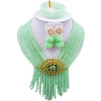 collares artificiales para mujer al por mayor-Conjuntos de collar de mujer de cristal verde menta artificial para fiesta y festival 8C-SK-16