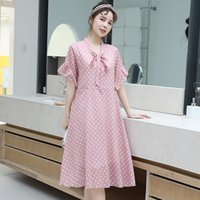 Wholesale korean maternity clothes for sale - Group buy Pregnancy dress Maternity Summer Fashion Polka Dot Chiffon short sleeved dress korean Pregnant clothes