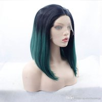 ingrosso parrucche corte parziali-Ombre Green Short Bob Parrucche Parrucche dirette sintetiche anteriori in pizzo Parrucche Cosplay Parrucche nere per parrucche nere per parrucche nere