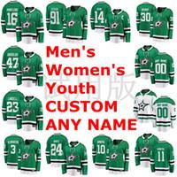 dallas estrelas hóquei venda por atacado-Jérsei Benn Alexander Radulov camisas de hóquei no gelo verde branco Costume Custom costurado