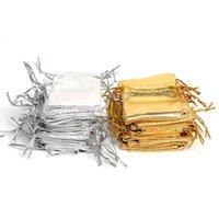 çorap torbaları gümüş toptan satış-100 ADET Gümüş ve Altın Organze İpli Parti Çantaları Düğün Favor Hediye Çanta Şeker Küpe Takı Çanta