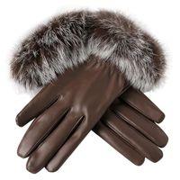 Wholesale rabbit gloves mittens resale online - Fashion Women leather Gloves Autumn Winter Warm Rabbit Fur gloves Mittens gloves heated