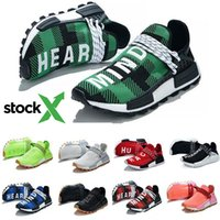 Wholesale women black body stocking for sale - Group buy With Stock X NMD Human Race Blue Plaid Nerd Nobel ink Running Shoes Pharrell Williams HU Men Women Trainers Outdoor Casual Sport Sneakers