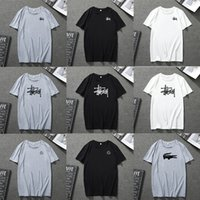 estampados blancos azules al por mayor-camiseta de verano para hombre diseñador Camisetas negras Women2019 Camiseta para hombre de verano Negro Blanco Azul Gris Camiseta con cuello redondo Cartas Imprimir Hip pop Rapero
