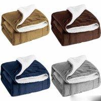 cobertores de camada dupla venda por atacado-Grosso-dupla camada de flanela cobertor Inverno suave e quente cobertor grosso sofá / cama / Viagem Double Layer Cobertor do velo