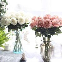 Wholesale fake pink white roses bouquet resale online - 51cm Length Artificial Flower Rose Artificial Bouquet Real Touch Feeling Flowers for Home Wedding Decoration Fake Flowers Wreaths