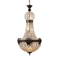 lâmpadas império venda por atacado-Retro Vintage Encantador Estilo Império Real Grande Led Cristal Moderna Lustre Lustres Luzes E14 Para O Hotel Igreja Sala de estar