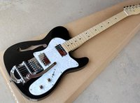 Wholesale black guitar customize resale online - Best seller Factory custom Black Electric Guitar with White Pearl Pickguard Maple Fretboard TremoloSyetem Chrome Hardware offer customized