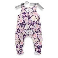 lila schlafanzug großhandel-Mädchen Baby Overall Blume Druck Schultern Lila ärmellose Overall Doppel Schulter Seil Kinder Pyjamas Creeping Suit 18