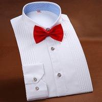 erkekler için pembe smokinler toptan satış-Üst düzey Erkekler Tuxedo Gömlek Katı Renk Uzun kollu gömlek Düğün Erkek Gömlek Beyaz Mavi Pembe Marka Erkek Gömlek