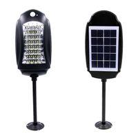 luz led seguridad vial al por mayor-Impermeable 32led Solar Street Lights Lámpara de jardín al aire libre Luces + Sensores de movimiento Solar Lámpara de pared Seguridad vial Luz de emergencia con control remoto