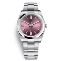 leuchtende kleider großhandel-Neue Mens Frauen Armbanduhren 36mm Sapphire Automatic Red Grape Roségold Dial Voller Stahl Luminous Männer Frauen Kleiden Uhren Präsident Desinger