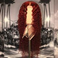 cor vermelha do cabelo brasileiro venda por atacado-Borgonha Do Laço Do Cabelo Humano Perucas 99 J Cor Vermelha Do Cabelo Do Vinho Rendas frente Perucas Pré Arrancadas Brasileiro Ondulado Ondulado Peruca de Cabelo Humano