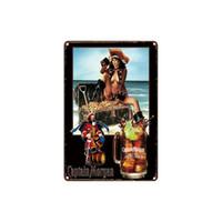 ingrosso pitture di alcol-vintage classico Capitan Morgan PARROT BAY ALCOOL Catch of the dog segno di latta oro aromatizzato Coffee Shop Bar Decorazioni da parete Bar Metal Paintings
