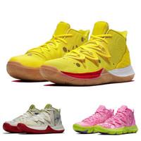 mağaza ayakkabısı toptan satış-2019 Kyrie V Ikhet DS Bej Mor Patrick Satılık Işlemeli Splatters En İyi Kalite Irving 5 Basketbol Ayakkabı Mağazası Ile 14 Renk kutu