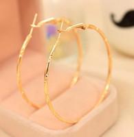 büyük paslanmaz çelik takı toptan satış-Küpe Hoop Gümüş veya Altın Kaplama Paslanmaz Çelik Hoop Küpeler Basketbol Wives Takı için Noel Büyük Altın Hoop Küpeler