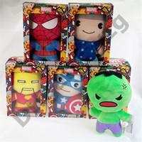 regalos maravillosos al por mayor-Marvel muñeca rellena 10CM / 20CM alta calidad Los Vengadores felpa de la muñeca Juguetes Los mejores regalos para los juguetes para niños sin caja