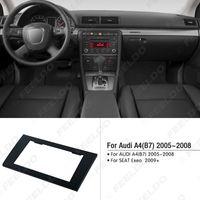 audi a4 asientos al por mayor-Kit de adaptador de montaje de instalación de marco de panel de moldura de radio estéreo 2DIN para coche para AUDI A4 (B7) 2005-2008 / SEAT Exeo 2009+ # 5037