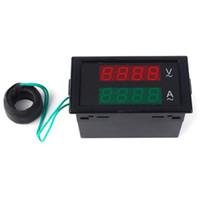 Wholesale panel amp meters online - DL69 A Digital Dual Amperemter AC V A Blue Lcd Dual Panel Volt Amp Combo Meter CT v v v