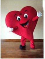 kırmızı kalp maskot kostümleri toptan satış-2019 Indirim fabrika satış Yetişkin Boyutu Kırmızı Kalp Maskot Kostüm Fantezi Kalp Maskot Kostüm ücretsiz kargo