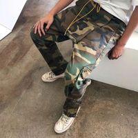 neue ladung hosen männer großhandel-RHUDE 18FW Multi-Pocket-Camouflage-Hosen Große Taschenschnalle Kordelzug Cargo Overalls Männer Lose Hip Hop RHUDE Hose Neue Ankunft