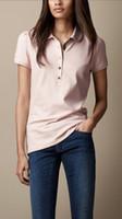 büyük polo gömlekler toptan satış-19ss Bayan Tasarımcı T Shirt Tops Tees Kısa Kollu Pamuk Kadın Polo Gömlek Büyük Boy Düz Renk Moda Trendi Tasarımcı Marka T-Shirt