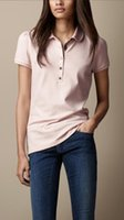 женщины-поло оптовых-19ss женские дизайнерские футболки топы тройники с коротким рукавом хлопок женщины рубашки поло большой размер сплошной цвет тенденции моды дизайнер бренда футболки