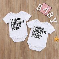 Wholesale baby cool outfit resale online - 2017 Newborn Infant Baby Boy Girl Cotton Short Sleeves Letters Best Dad Mom Bodysuit Clothes Outfits Cool Summer set M