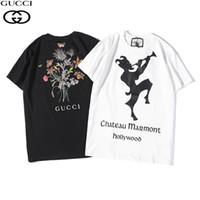 estampado floral camisas para hombre al por mayor-MensWomens T Shirts 2019 verano nuevo diseñador de ropa moda carta de impresión de manga corta de lujo patrón de flores simple payaso silueta Tops
