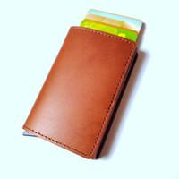 визитки металлические кошелек оптовых-New RFID Protected Genuine Leather Card Holder Men Aluminum Metal Business Slim ID Credit Cardholder Multifunction Mini Wallet