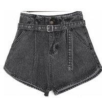 senhora escura venda por atacado-BRILHO MUNDIAL das Mulheres Denim Shorts Cinza Escuro Do Vintage Caixilhos de Cintura Alta Perna Larga Ocasional Das Senhoras de Verão Shorts Jeans Para As Mulheres