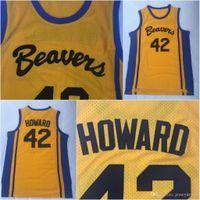 42 filme venda por atacado-Mens teen lobo scott howard beacon 42 Beavers jersey Jersey filme de basquete 100% costurado amarelo S-3XL transporte rápido