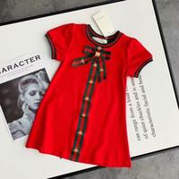 patchwork adrettes kleid großhandel-Großhandel Marke Mädchen Kleid Mädchen High-End-Mode casual Kleid Geburtstagsparty Baumwolle Kleid Sommer heiß Kurzarm T-Shirt