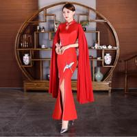 ingrosso vestiti blu orientali-Donne cinesi di stile Abiti da sera sexy Manica lunga Qipao Red Blue lady vestido Open fessura abiti da festa moderna abito orientale