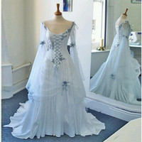 vestido de casamento branco medieval venda por atacado-Vestidos de Casamento Celta do vintage Branco e Azul Pálido Colorido Medieval Vestidos De Noiva Colher Decote Espartilho Longo Sino Mangas Vestidos De Casamento